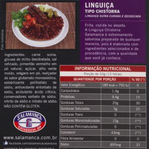 Linguiça Tipo Chistorra Pacote Aprox. 200 grs